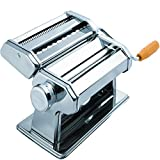 Den Haven Pasta Maker Machine - Stainless Steel Roller for Fresh Spaghetti Fettuccine Noodle Hand Crank Cutter