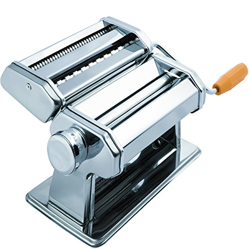 Dough Press (Pasta Maker Machine - Stainless Steel Roller for Fresh Spaghetti Fettuccine Noodle Hand Crank Cutter)