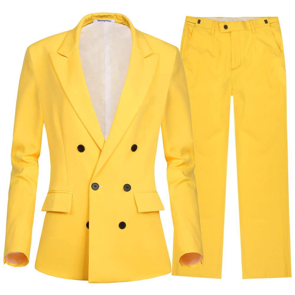 Yellowmi45sp CMDC Women's 2 PC Business Casual Shawl Collar Formal Blazer Suit Pants Sets MI35