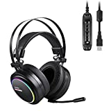 AUKEY Gaming Headset with Noise Canceling & Volume Control , USB Headset with Virtual 7.1-Channel Surround Sound and RGB light for PC / PS4 (Black)
