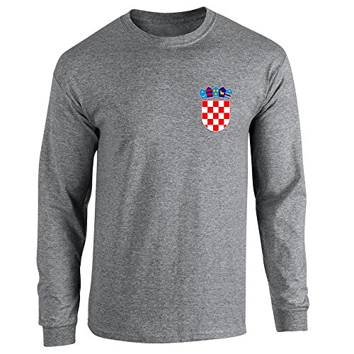 Croatia Soccer Retro National Team Sport Football Graphite Heather XL Long Sleeve T-Shirt
