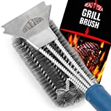Grill Brush and Scraper - 360° Clean Stainless Steel Barbecue Brush with Triple Head Scrubber Cleaner - Safe for Porcelain, Ceramic, Steel, Cast Iron - Great BBQ Tools
