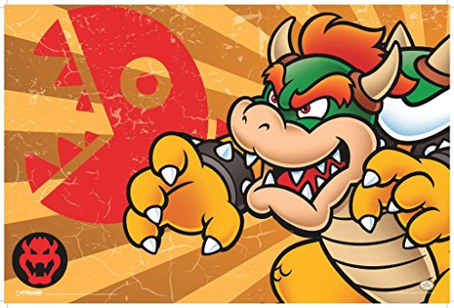 Pyramid America Super Mario Bowser Stripes Video Game Gaming Poster 12x18 inch