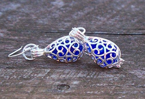 - Recycled Vintage Cobalt 1960's Face Cream Jar Silver Filigree Teardrop Earrings