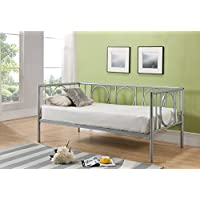 Kings Brand Metal Astoria Day Bed (Daybed) Frame With Metal Slats (Silver)