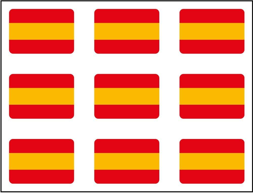 Artimagen Pegatina Bandera Rectángulo 9 uds. España 16x11 mm/ud.: Amazon.es: Coche y moto