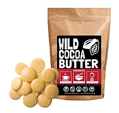 Raw Cocoa Butter Wafers From Organically Grown Cacao Beans, Unrefined, Non-Deodorized, Food Grade, Fresh For Recipes, Cooking, Smoothies, Coffee, Skincare, Haircare