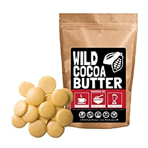 Raw Cocoa Butter Wafers From Organically Grown Cacao Beans, Unrefined, Non-Deodorized, Food Grade, Fresh For Recipes, Cooking, Smoothies, Coffee, Skincare, Haircare (32 ounce)