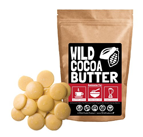 Raw Cocoa Butter Wafers From Organically Grown Cacao Beans, Unrefined, Non-Deodorized, Food Grade, Fresh For Recipes, Cooking, Smoothies, Coffee, Skincare, Haircare (4 ounce) (Fair Trade Cocoa Butter)