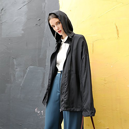 Long A Silk Coat Outer Sauna Jackets Ground Xuanku Silk Female Black In SY71qqf