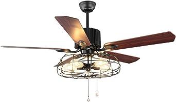 Loft ventilador industrial ventilador de techo luz retro ...