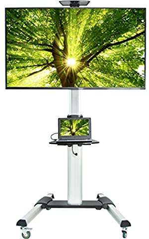 VIVO Ultra Heavy Duty TV Cart for Flat Screen Panel Mobile Rolling Stand w/ dual shelves and 3