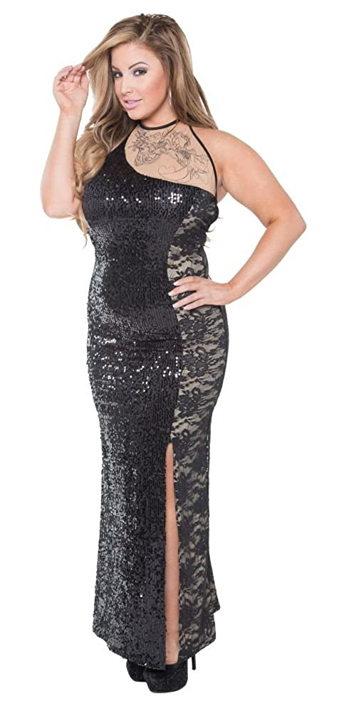 d03b33eb0296 Amazon.com: Delicate Illusions Sequin Lace Plus Size Elegant New Years Eve  Party Gown Long Dress For Women: Clothing