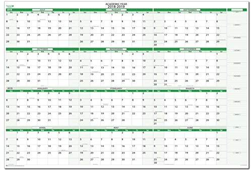 Earth Green 2018-2019 Extra Large Horizontal Academic Dry/Wet-Erasable Wall Planner Kit 38 in. x 58 in. Starts in July 2018 - Ends in June 2019