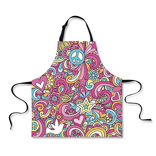 BBQ Apron,Groovy Decorations,Psychedelic Complex Funky Decorative Patterns Stars Back to 60s Fun Retro Artsy Print,Multi, Apron.29.5