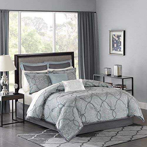 Madison Park LaVine 12 Piece Complete Bed Set Blue King (Renewed)