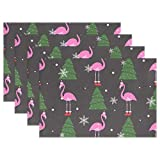 fine rectangular glass patio table Jereee Flamingo with Christmas Hat Tree Set of 6 Placemats Heat-Resistant Table Mat Washable Stain Resistant Anti-Skid Polyester Place Mats for Kitchen Dining Decoration