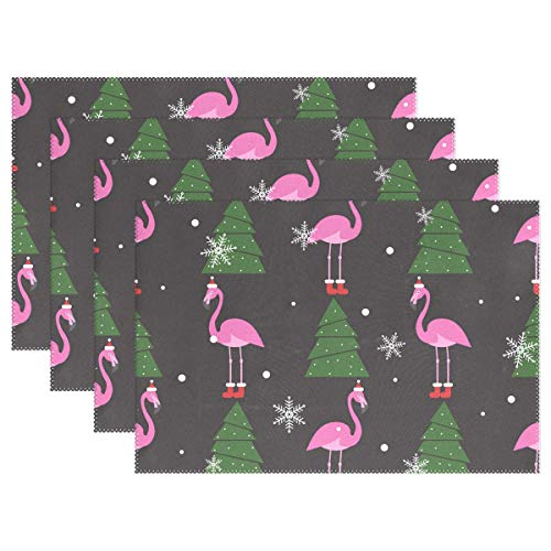 Jereee Flamingo with Christmas Hat Tree Set of 6 Placemats Heat-Resistant Table Mat Washable Stain Resistant Anti-Skid Polyester Place Mats for Kitchen Dining Decoration