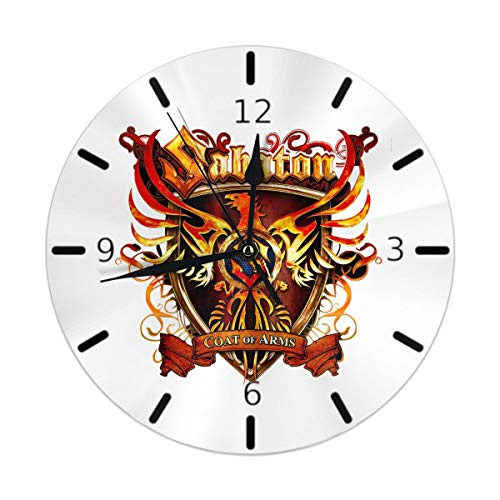 Flypo-yoc Sabaton Coat of Arms Round Acrylic Wall Clock, Silent Non Ticking Oil Painting Home Office School Decorative Clock Art