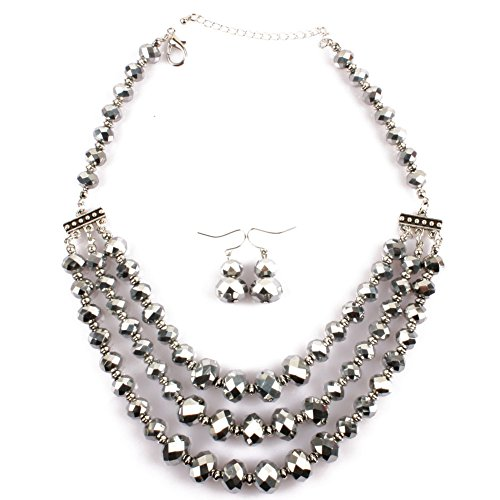 Ufraky Womens Girls Crystal Beads Choker Chunky Statement bib Necklace and Earrings Set (Silver)