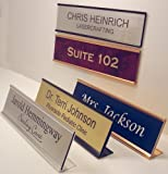 PACK OF 10 - Personalized Office Desk Name Plate or Door Sign With Wall or Desk Holder 2''x8'' - Laser Engraved Signage Material - CUSTOMIZE