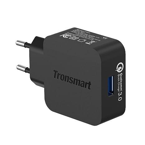 Tronsmart - Cargador USB de Pared con Carga Rápida Quick Charge 3.0 con Certificación Qualcomm Enchufe Europeo para iPad, iPhone, Samsung, Huawei, ...
