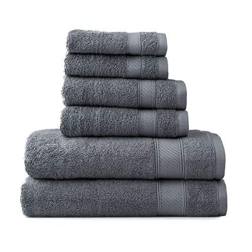 (Wamsutta 6-Piece Hygro Duet Bath Towel Set Includes Washcloths,Hand Towels Bath Towels (Pewter))