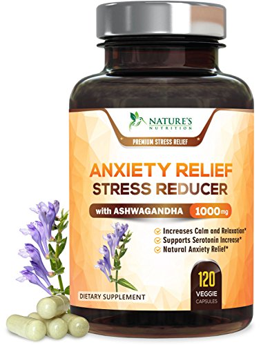Anxiety Supplements Extra Strength Stress Relief 1000mg - Natural Mood Boost, Anti-Depressant & Adrenal Support - Serotonin & Dopamine Enhancer w/Ashwagandha & 5HTP, Made in The USA - 120 Capsules