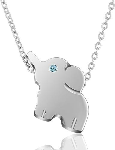 Aeonslove Elefante Afortunado Colgante Collar De Acero Inoxidable Lindo Animal Joyería Para Las Mujeres Niñas