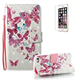 For iPhone 5 5S SE Case [with Free Screen Protector], Funyye Premium New 3D Folio PU Leather Wallet Magnetic Flip Cover with [Wrist Strap] and [Colorful Printing Painting] Stylish Book Style Full Body Protection Holster Case for iPhone 5 5S SE-Little Butterfly