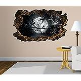 3D Wandtattoo Vollmond Raben Ast Mond schwarz Bild Foto Wandbild Wandsticker Wandmotiv Wohnzimmer Wand Aufkleber 11F160, Wandbild Größe F:ca. 140cmx82cm