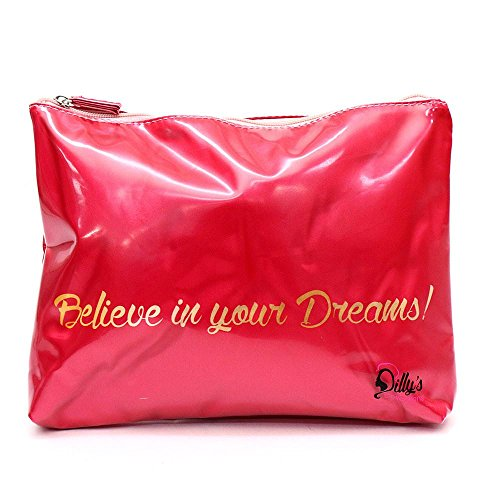 New Dilly's Collections - Travel Cosmetic Bags - Cosmetic Organizer - Multi Purpose - Waterproof - PVC Coated - Zip closure - Travel Accessories- Hand Bag Travel Accessory - Believe In Your Dreams