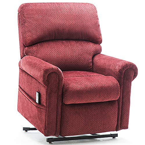 Harper&Bright Designs Woven Velvet Power Lift Recliner Chair Premium Gel Infused Foam with Remote Control for Living Room (Wine)