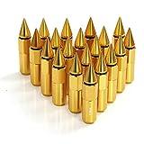 (US) Rupse 20pcs M12x1.5 Aluminum Spiked Lug Nuts Extended Tuner Wheels/Rims For Honda,Mitsubishi,Toyota, Mazda, Subaru etc (Golden)