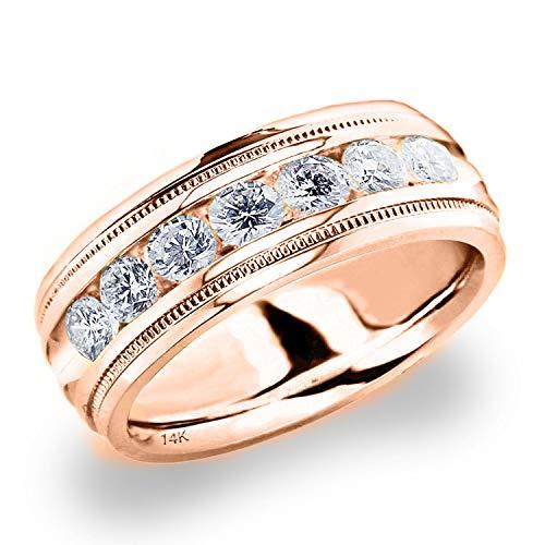 Men's 1ct Grooved Milgrain Diamond Ring in 14K Rose Gold - Finger Size 8