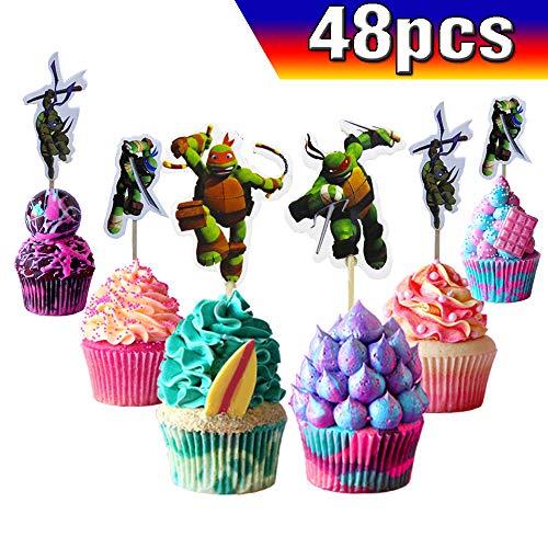 Ninja Turtle Birthday Cake Toppers (Ninja TurtleCupcake Toppers Ninja TurtleCake Toppers 48PCS, Ninja TurtleHappy Birthday Party Supplies Cake Decorations for Ninja Turtlefans, Kids Birthday)