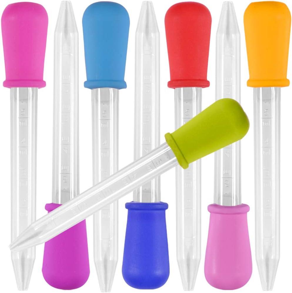 8 pieza Liquid Dropper, pipetas de 5 ml, Yidaxing silicona y pipetas de plástico Transferir cuentagotas para dulces de caramelo dulces y moldes artesanales molde gomoso - 8 colores