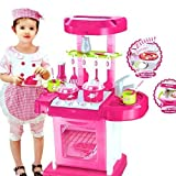 KISMIS Luxury battery operated kitchen play set pretend play set for kids with roll play kitchen set carry case, with LED lights & sound, Multi color