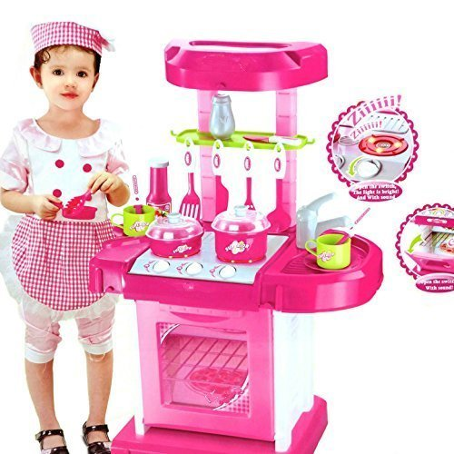KISMIS kitchen set Luxury battery operated kitchen play set pretend play set for kids with roll play kitchen set carry case, with LED lights & sound, Multi color kitchen set for girls playing & enjoying