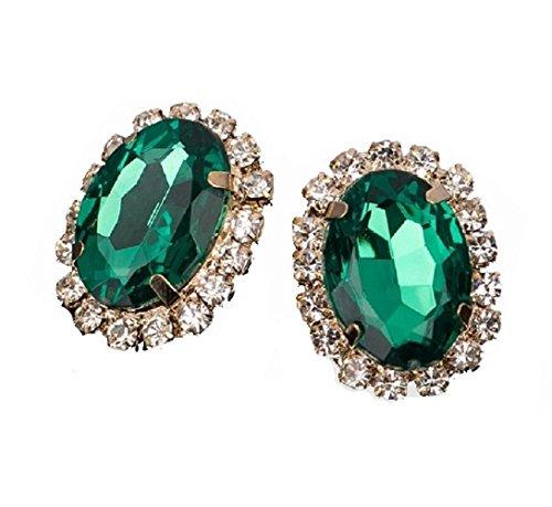 MDeeLuv Enchanting Crystal Gem Austrian Oval Shape Stud Earrings For Women In Sparkling Teal/Green Oval Shape Austrian Crystals