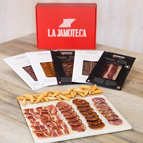 Gift Ham - La Jamoteca - Gift Pack Ibericos (Acorn fed (bellota) 100% Iberico Ham, Loin,Chorizo, Salchichon.)