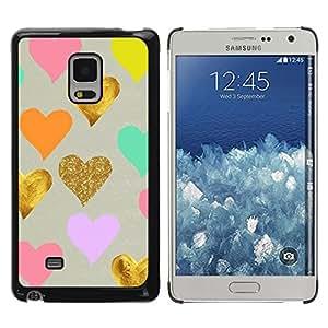 FECELL CITY // Duro Aluminio Pegatina PC Caso decorativo Funda Carcasa de Protección para Samsung Galaxy Mega 5.8 9150 9152 // Golden Foil Pink Blue Love Kids Valentines