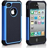 iPhone 4 Case, iPhone 4S Case, Fashion Shockproof Durable Hybrid Dual Layer Armor Defender Protective Case Cover for Apple iPhone 4S/4 (Blue)