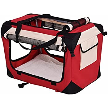 Giantex Pet Dog Carrier Portable House Soft Sided Cat Travel Crate Tote Bag Dog Crate Indoor & Outdoor Use 4 Sizes/ 4 ColorColor (XL, Red)
