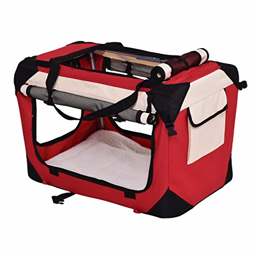 Giantex Pet Dog Carrier Portable House Soft Sided Cat Travel Crate Tote Bag Dog Crate Indoor & Outdoor Use 4 Sizes/ 4 ColorColor (M, Red)