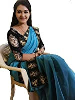 Sarees(Indian Beauty new Collection 2017 sarees for women party wear offer designer sarees for women latest design sarees below 500 saree for women saree for women party wear saree for women in Latest Saree With Designer Blouse (BLUE)