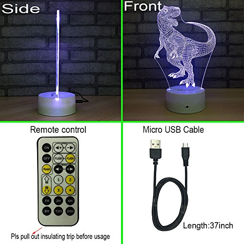 FlyonSea Night Lights Kids Bedside Lamp 7 Colors Change Remote Control Timer Kids Night Light optical illusion Lamps Kids Lamp As a Gift Ideas Boys Girls (Dinosaur) by FlyonSea (Image #5)