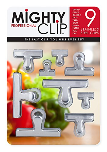 NameStar MightyClip Stainless Steel Bag Clips, Set of 9