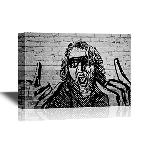 wall26 - Canvas Wall Art - Rocker Drawing on Brick Wall Background - Gallery Wrap Modern Home Decor | Ready to Hang - 16x24 inches]()