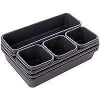 INOVERA (LABEL) Interlocking 8 Pcs Cutlery Drawer Desk Organizer Divider Tray, Dark Grey